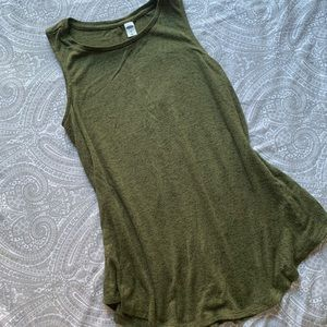 Green long sweater tank top tunic